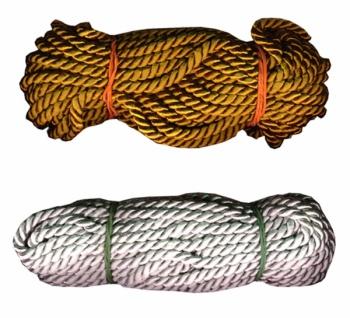 14556 Rundschnur, gold oder silberfarben, 6mm breit, 10 Meter S