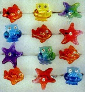 1307 Fingerringe aus Plastik für Kinder, als Eule, Fisch oder Seestern, in verschiedenen Farben, 1