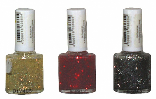 2806 Glitzer Nagellack in Flaschen, in gold, silber, rot und bunt - Vorschau