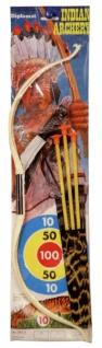 6418 3 teiliges Indianer Waffen Set: Messer, Pfeil und Bogen.