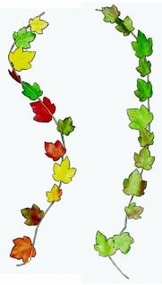 7086 Weinlaubranke, ca. 1 m lang, mit 12 Blättern, gewachst, herbstl