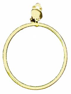 1057 Piratenohrring: einzelner Eloxalring am Clip, 70 mm breit, gold...