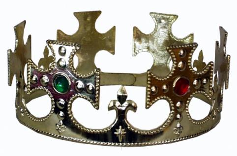 1334 goldene Königskrone mit bunten Sternen und Prägungen aus Plastik, 7, 8 cm hoch, Kopfumfang ein