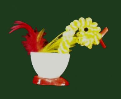 98806 Enten Eierbecher aus Plastik, 8x10cm groß, in weiß, rot, gel