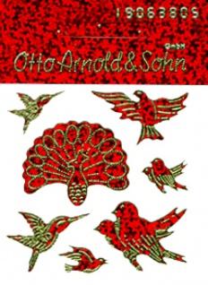 5675 Blatt mit 7 verschiedenen Vögeln, rot gold, selbstklebend, 70 x