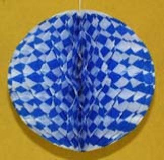 72032 Wabenball aus Papier, 30cm Durchmesser, weiß/blau rautiert, fl - Vorschau