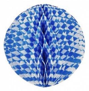 72035 Wabenball aus Papier, 40cm Durchmesser, weiß/blau rautiert, fl