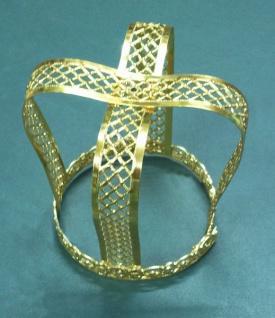 1341 kleine filigrane Krone aus Metall, in gold und silberfarben, 74mm Durchmesser, 64mm hoch