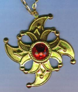 1227 Orden mit Kette, goldfarben/rot, als Stern (ohne Abbildung) oder als Narrenkappe, 80mm breit,