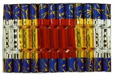 99180 12 Knallbonbons aus Fantasiepapier und Glanzfolie, 18cm lang, - Vorschau