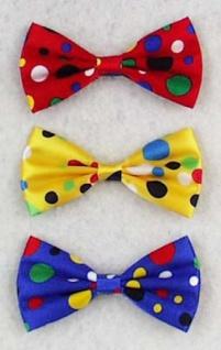 5817 Clownschleife mit bunten Punkten, in rot, gelb und blau