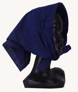 1776 Damen Baumwoll Haube, blau, abgesteppt, doppelt...