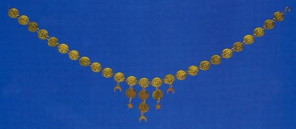 1102 Münzkette mit anhängenden Münzen, Monden und Sternen, 27cm lang, passend zu unserem Armschmuc