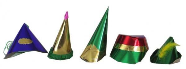 16221 Folien Party Hüte, sortiert, 5 Verschiedene...
