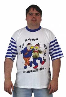 58685 T Shirt, vorne weiß mit Druck, hinten mit breiten blauen Strei