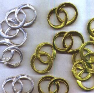 7630 Streuartikel: Eheringe aus Pappe in gold oder silber, 10 Stück - Vorschau