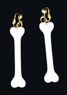 1046 1 Paar Ohrringe mit schmalen Knochen, 75mm lang, mit Clip...