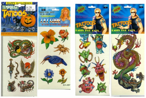 0071 Sticker mit bunten temporären Tätowierungen, 10 verschiedene Bögen mit Halloween Motiven, 1