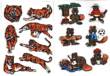 5746 Foliensticker, Set mit Tiger oder Biber, selbstklebend, 75x100c