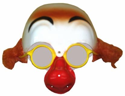 Perücke 3379 Clownglatze mit Haaren, Brille und Nase, aus Plast