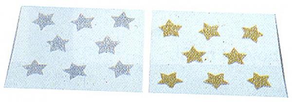 5610 Bogen mit 8 Glimmersternchen, in gold oder silber, selbstkleben