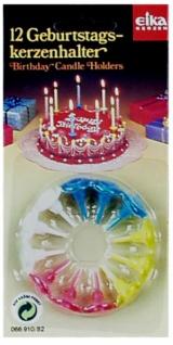 7019 Set mit 12 Geburtstagskerzenhalter (Tortenstecker), je 3 in bla - Vorschau