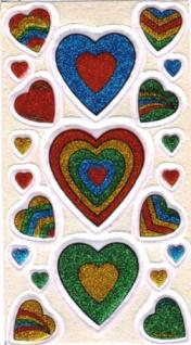 5616 Blatt mit Glitter Herzen, bunt, selbstklebend, 9x16cm groß