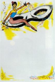 "74141 Karneval Plakat, "" Figur auf Domino"", 42x59 cm gr"