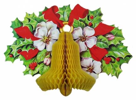 8264 Wabenkarten Dekoration mit 3D Effekt: Weihnachtsglocke mit Ro - Vorschau