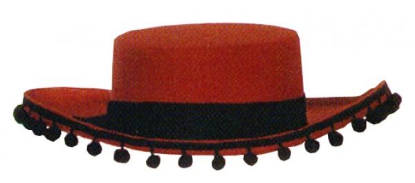 Hut aus Filz 20040 Spanier Hut, mit Band und Bällchenborte, in schwa