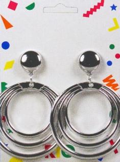 1035 1 Paar silberfarbene Ohrclipse, je 3 Ringe ineinander...