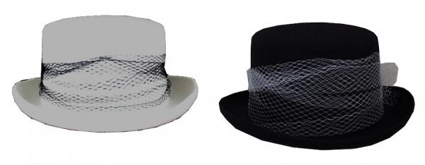 Hut aus Filz 19552 Damen Zylinder Hut, mit breitem Band (Reiterin),