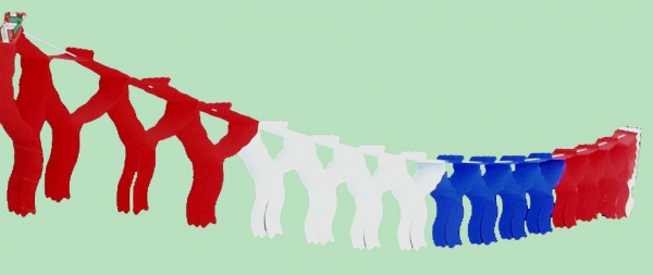 7271 Fahnen Girlande, 4m lang, 76x330 mm stark, in rot/weiß/blau in