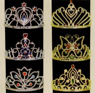 1364 6 verschiedene Diademe mit orientalischen Mustern oder Schmetterling, aus Kunststoff, in gold
