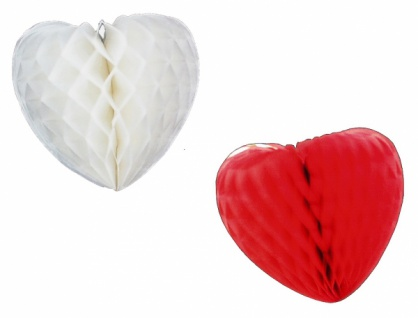 7173 Waben Herz, ca. 30 cm groß, in rot und weiß, flammenresistent