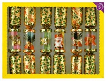 99650 6 verschiedene Knallbonbons mit Weihnachtsmotiven, 26cm lang - Vorschau