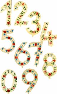 7022 Die Zahlen 0 9, ca. 9 cm groß, mit Steckfeder zum Einstecken in