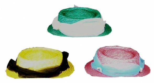 1850 Damen Hut, Glanzstroh, in verschiedenen Farben und Garnierungen