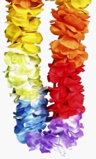 23690 Hawaii Kette aus bunten Stoff Blumen, sehr dicht...