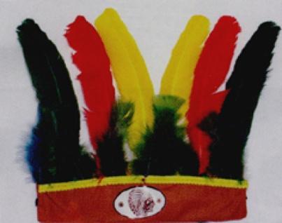 6401 Indianer Kopfschmuck, 25cm Stoffband mit bunten Federn und Indi
