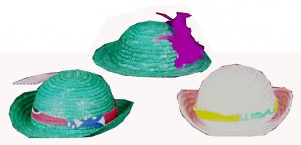 1893 Strohminiaturen in verschiedenen Formen, Farben und Garnierunge