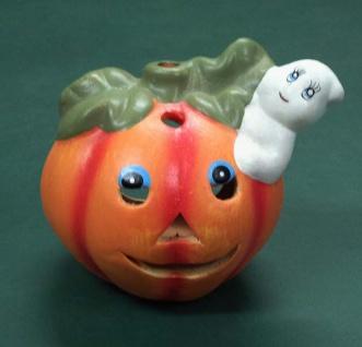 """0011 Keramik Windlicht: """" Kurbis mit Geist"""" , 10cm hoch, passend für unsere Teelichte, A"""