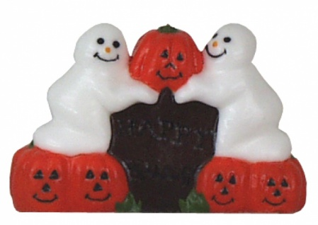 0002 Kerze: Grabstein mit Kürbissen und Geistern, 11cm hoch, 16 cm breit...