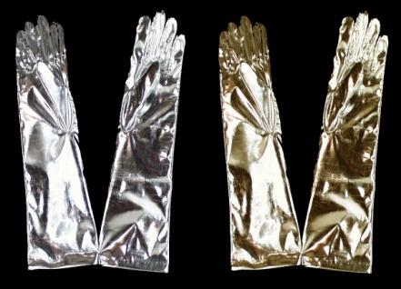 58811 Lange Folienhandschuhe in gold und silber, Einheitsgröße