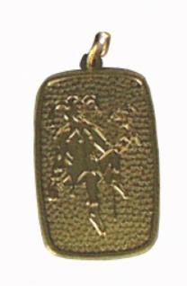 1270 Metallorden in Schildform, mit Eulenspiegelprägung, 26x39mm groß, in gold und altgold