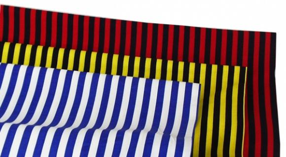 14852 Baumwollstoff, 140cm breit, gestreift, in rot/schwarz, rot