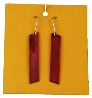 1095 1 Paar einfache, längliche Metallscheibe an Haken, 45mm lang, in schwarz, rot und grün liefer