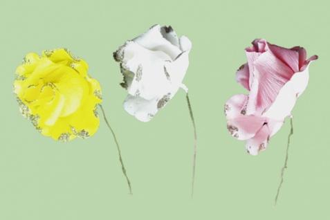 2348 Rose mit Glimmer, aus Papier, 10 cm Durchmesser, in weiß und rosa...