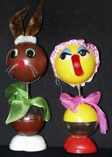 98770 Verschiedene Enten oder Hasenfiguren mit Wackelkopf, aus Plas
