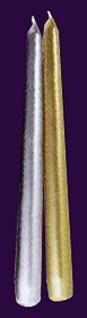 73781 Spitzkerzen für Leuchter, ca. 20cm lang, in gold und silber
